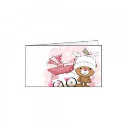 Bigliettino orsetto e carrozzina rosa