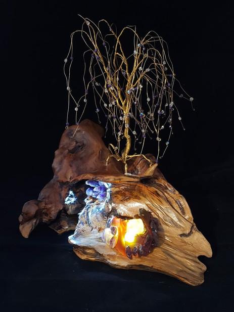 Brass on Driftwood - Lit Up