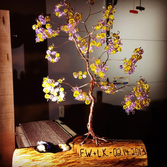 Spring Tree on Driftwood with Initials