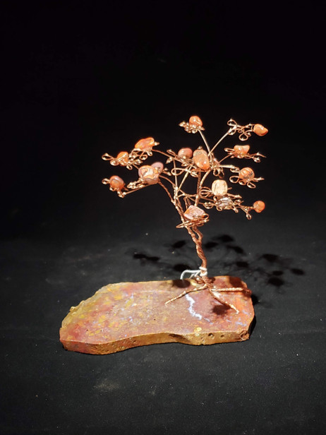 Red Jasper, Copper Tree with Polished Carnelian