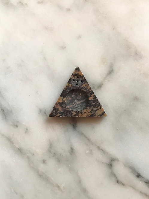 fairtrade incense holder : hand carved stone - triangle