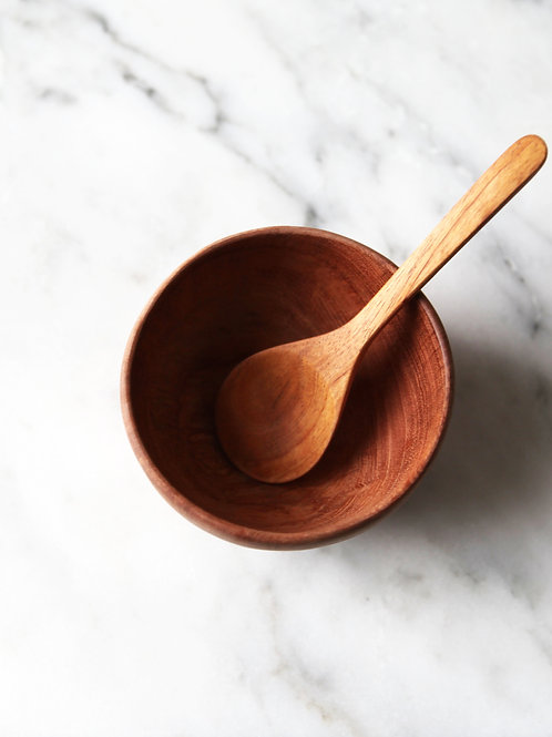 fairtrade bowl & spoon set: neem wood