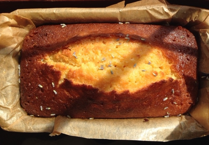 Lemon and Lavender Polenta Cake