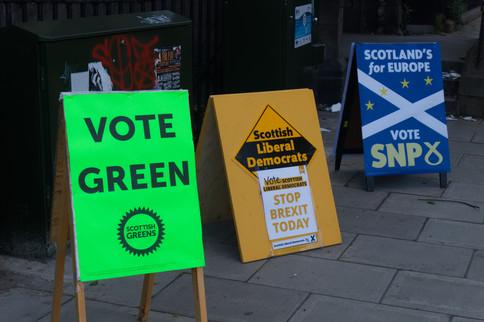 Placards for the UK 2019 European Elections, Edinburgh, 23/05/2019