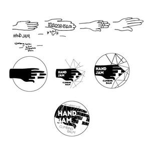 hand jam climbing balm label design process