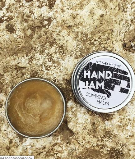hand jam climbing balm label logo design
