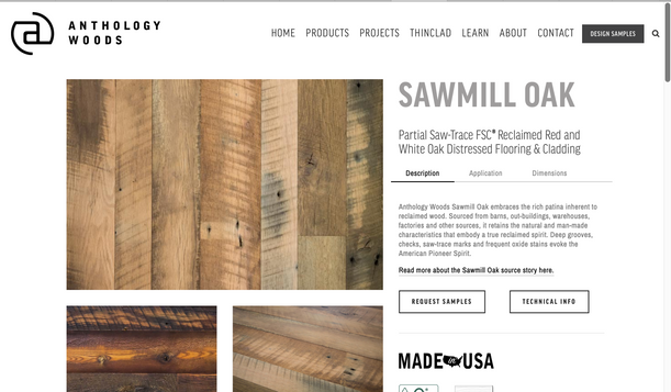product page web design for reclaiemd wood company