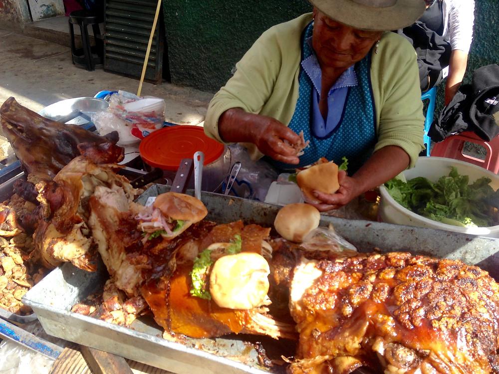 best pork sandwich ever in Huaraz, Peru