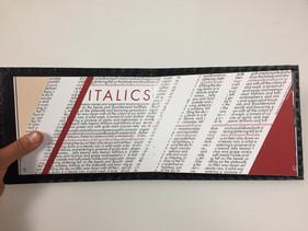 italics typography design booklet