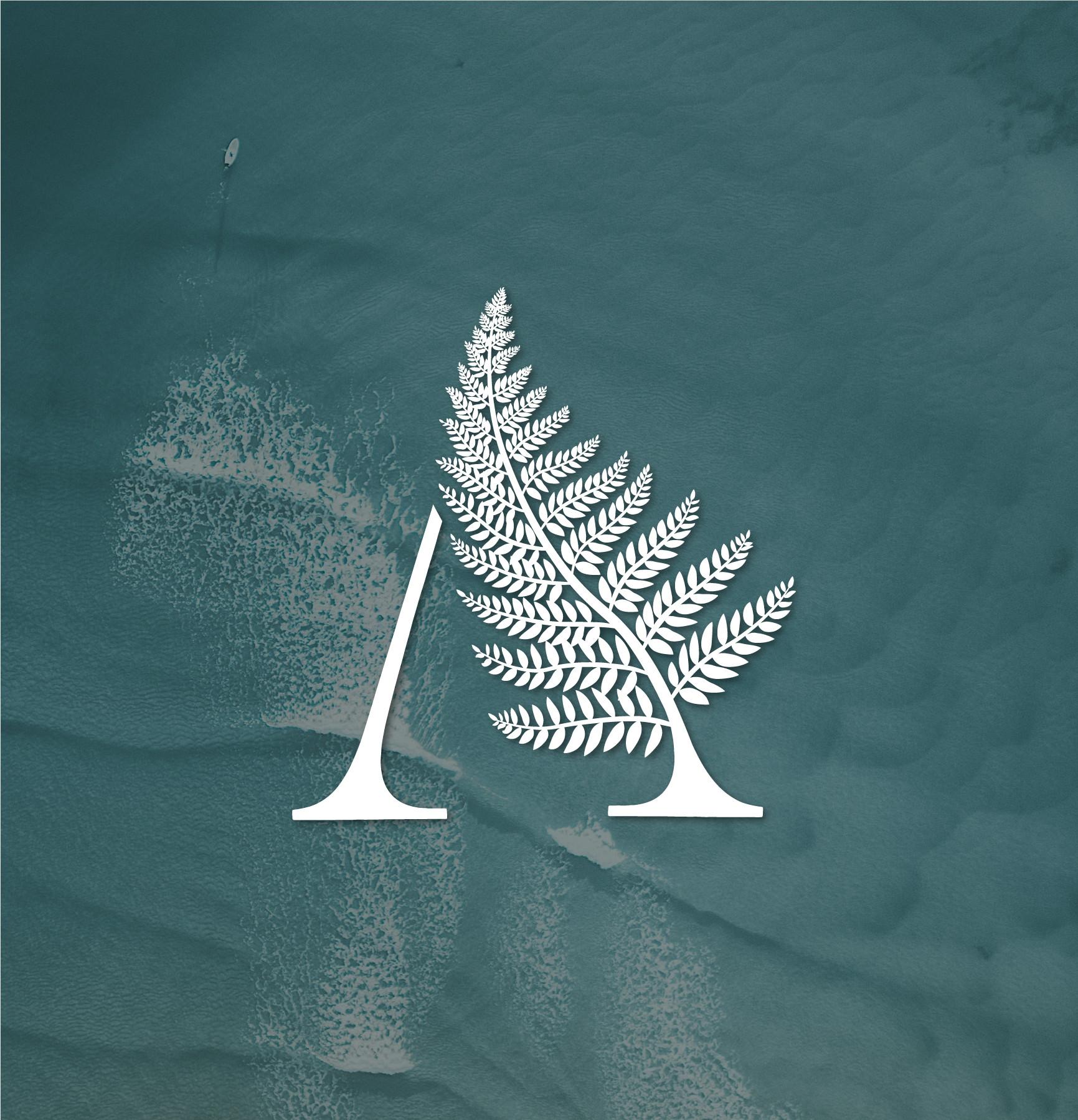 fern logo design with water background