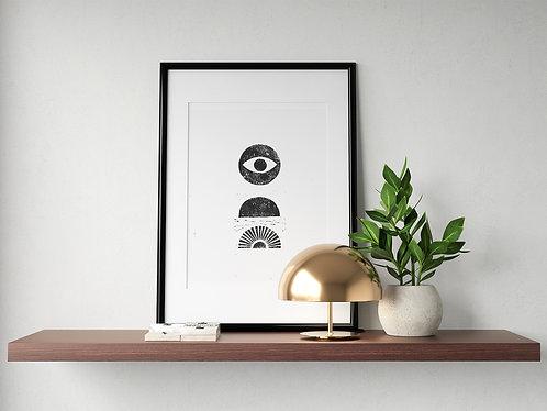 'Up Here' Block Print