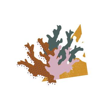 coral reef modern geometric print design