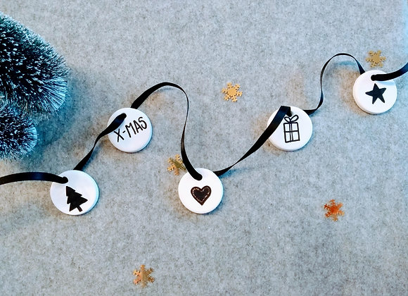 kerstlabel zwart/wit