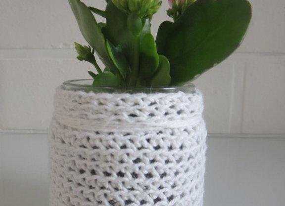 gehaakt bloempotje wit