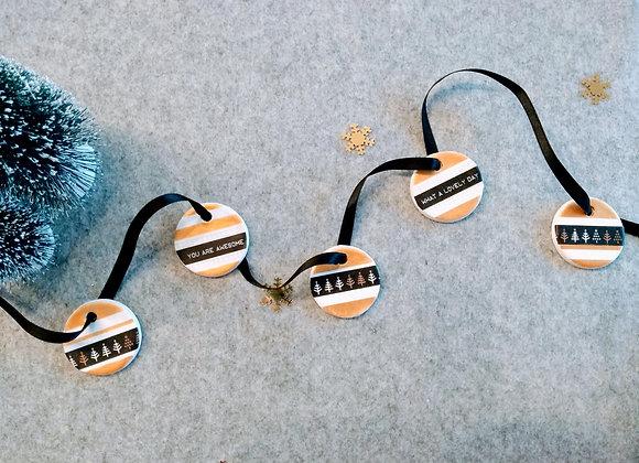 kerstlabel zwart/goud