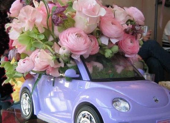 Barbie car with Ranunculus