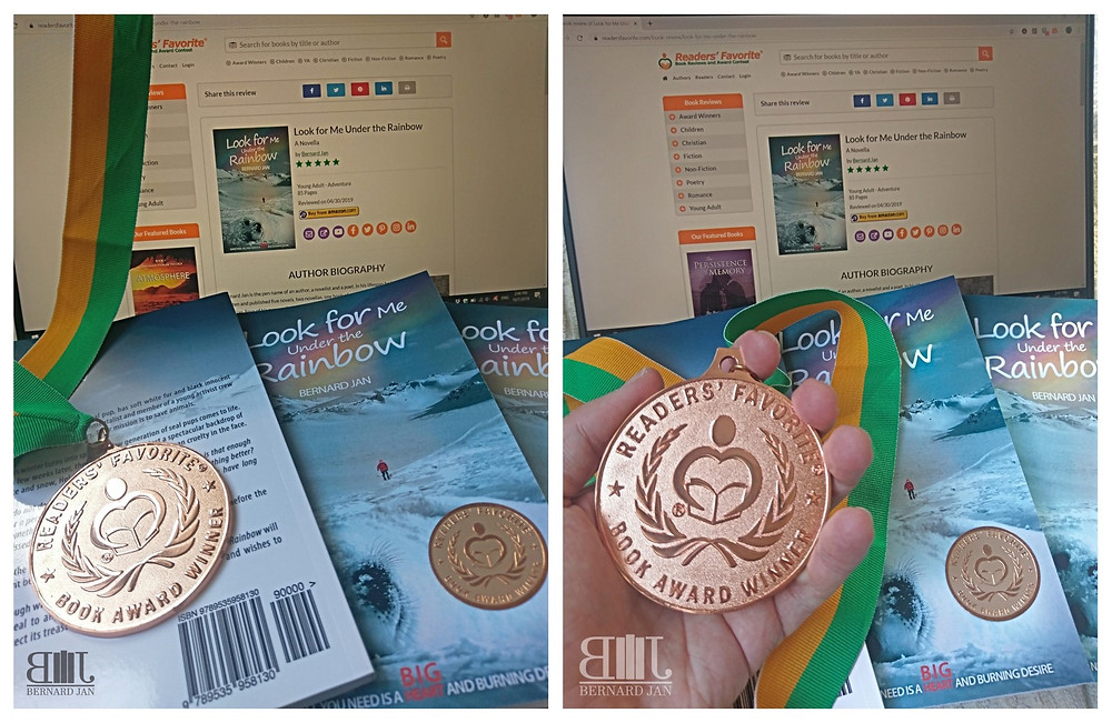 Readers' Favorite Bronze Medal for Look for Me Under the Rainbow by Bernard Jan