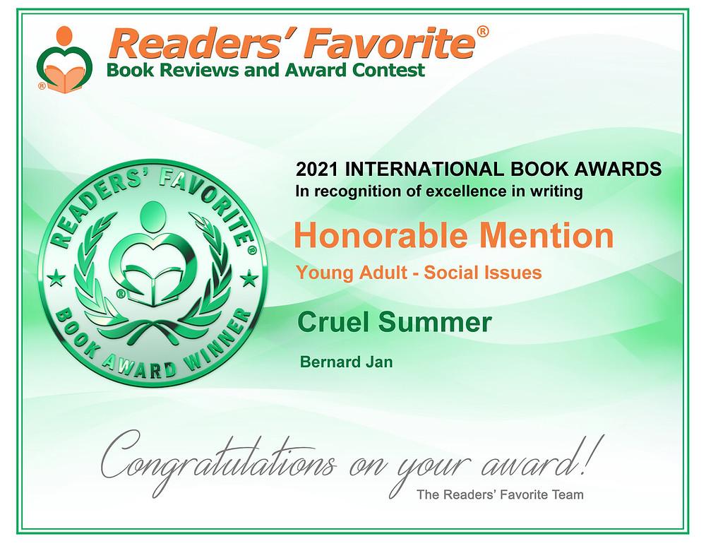 Readers' Favorite Award Certificate for Cruel Summer by Bernard Jan