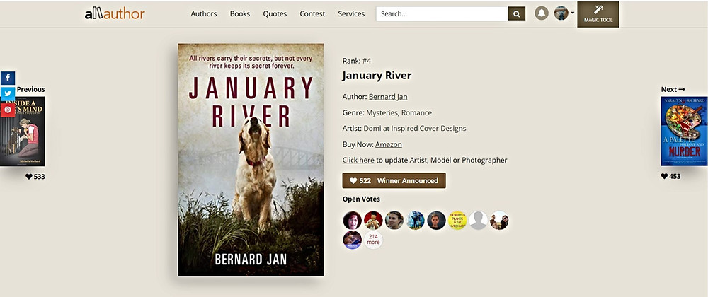 January River ranked #4 in AllAuthor cover contest for June 2020