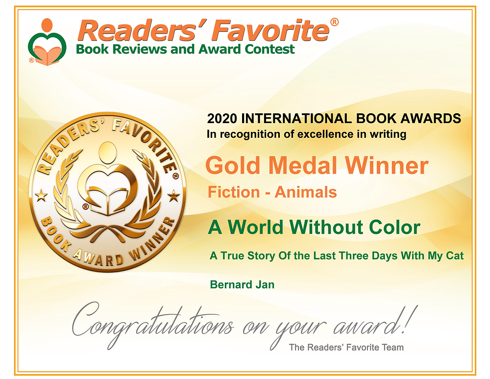 Readers' Favorite Award Certificate for A World Without Color by Bernard Jan