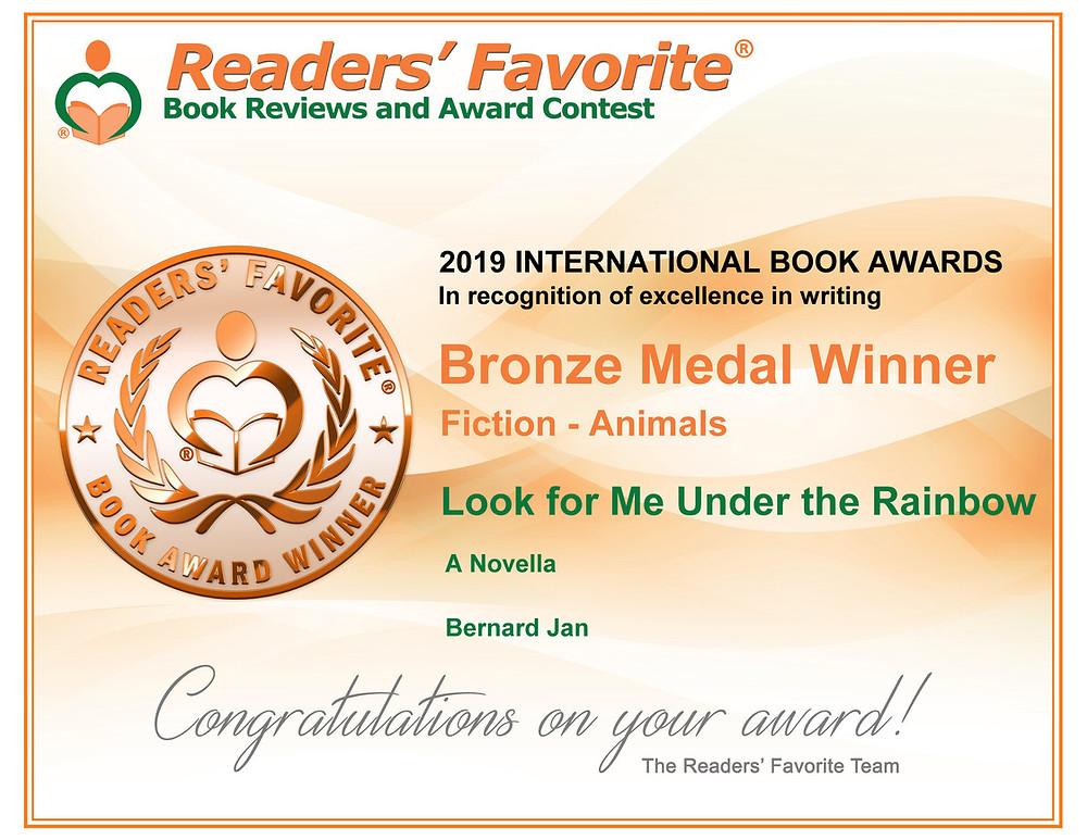 Readers' Favorite Award Certificate for Look for Me Under the Rainbow by Bernard Jan