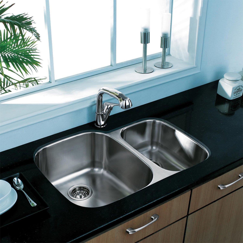 Vigo 30 Inch Undermount 70 30 Double Bowl 18 Gauge Stainless Steel Kitchen Sink
