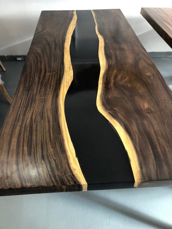 timeless design 33e3d 94722 Suar wood and Black Resin dining table | Retro Modern Designs