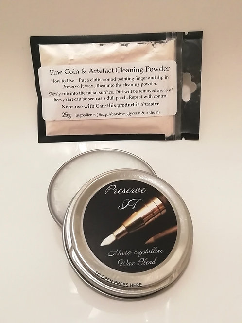 Fine Coin Cleaning Powder 25gms plus Preserve IT ..... Micro-Crystalline Wax
