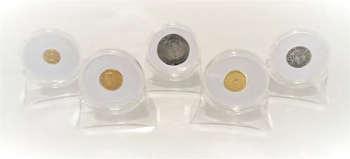 Acrylic Coin Stands & Capsules x 12