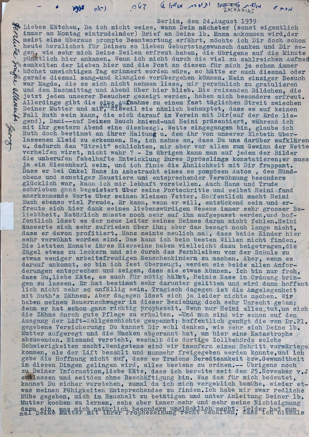Letter from Berlin, Aug 1939