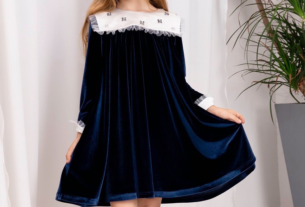 Lalumière系列- 大方領絲絨娃娃裙