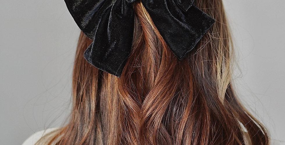 法式蝴蝶結 Black Velvet Ribbon Clip