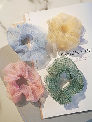 Chiffon Check Ponytail Band