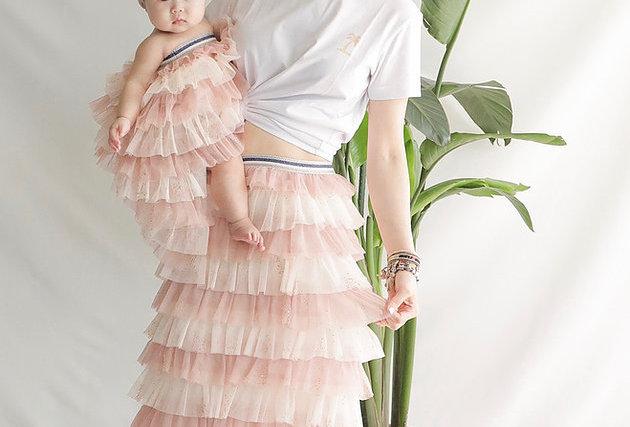 甜美可愛Pink Cake Shiny Mesh Skirt
