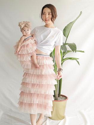 Pink Cake Shinny Mesh Skirt