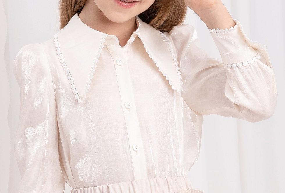 Lalumière系列- 尖領花邊襯衫