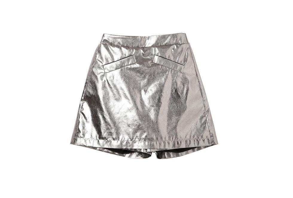 Lalumière系列- 銀色半身裙褲