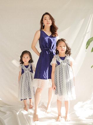 White Dot Silky Blue Dress