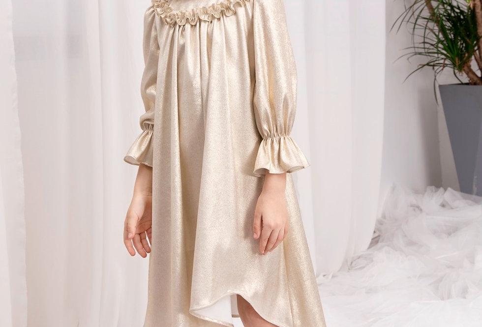 Lalumière系列- 金色不規則下擺連衣裙