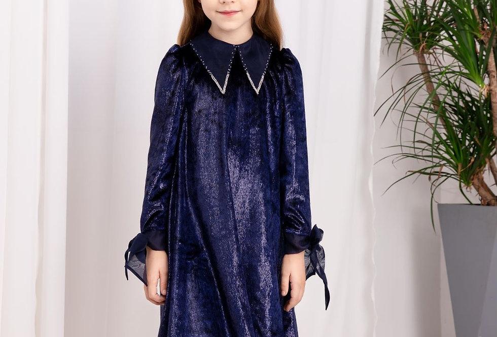藍色小尖領釘珠絲絨裙 - Lalumière系列