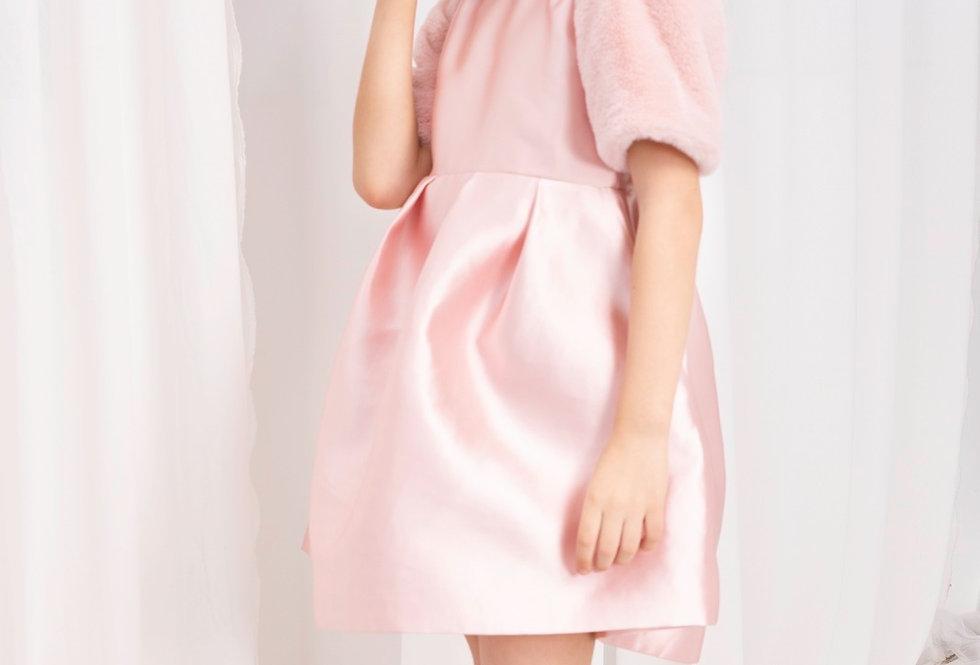 Lalumière系列- 粉色短袖花苞禮服裙