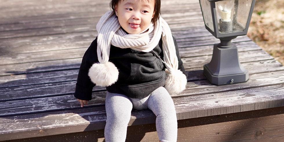 可愛BB冷帽 連波波頸巾Baby Double Pom Beanie