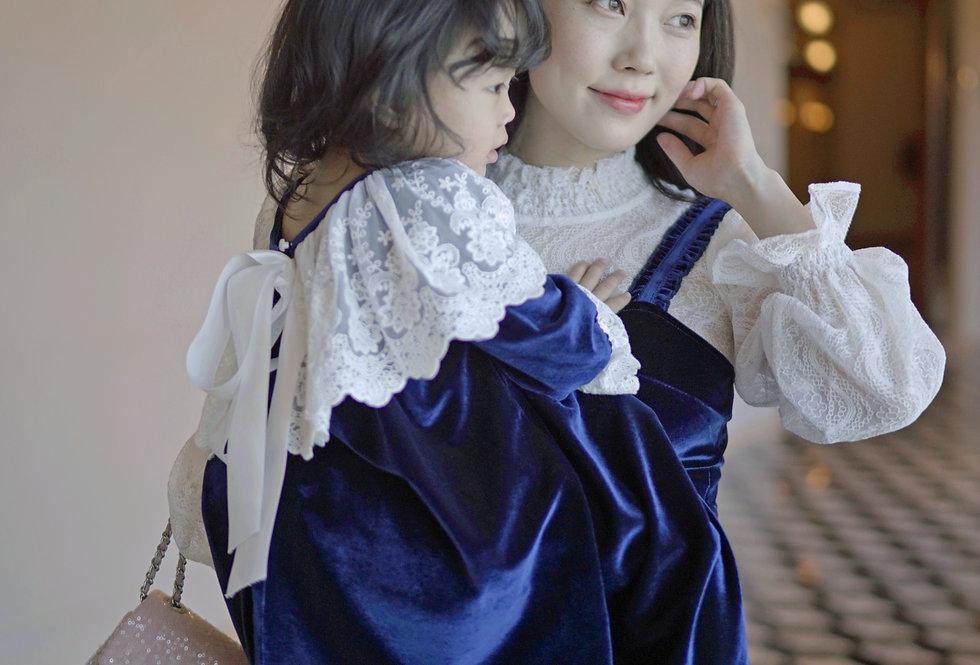 高貴優雅Royal Blue Velvet Dress