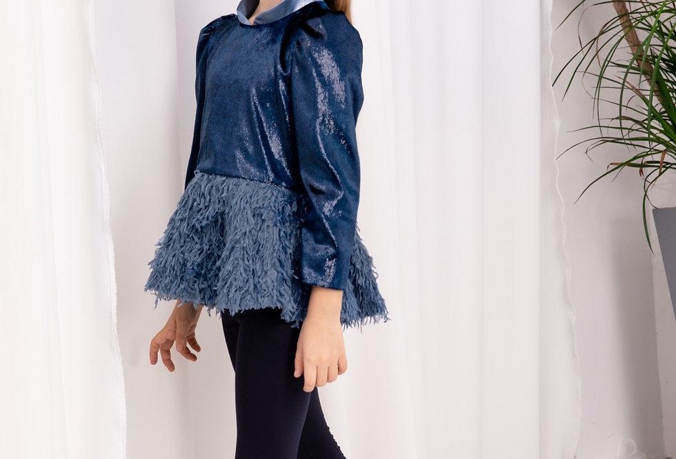 Lalumière系列- 藍色羽毛上衣