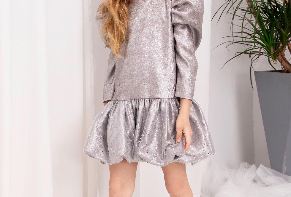 Lalumière系列- 銀灰色花苞連衣裙