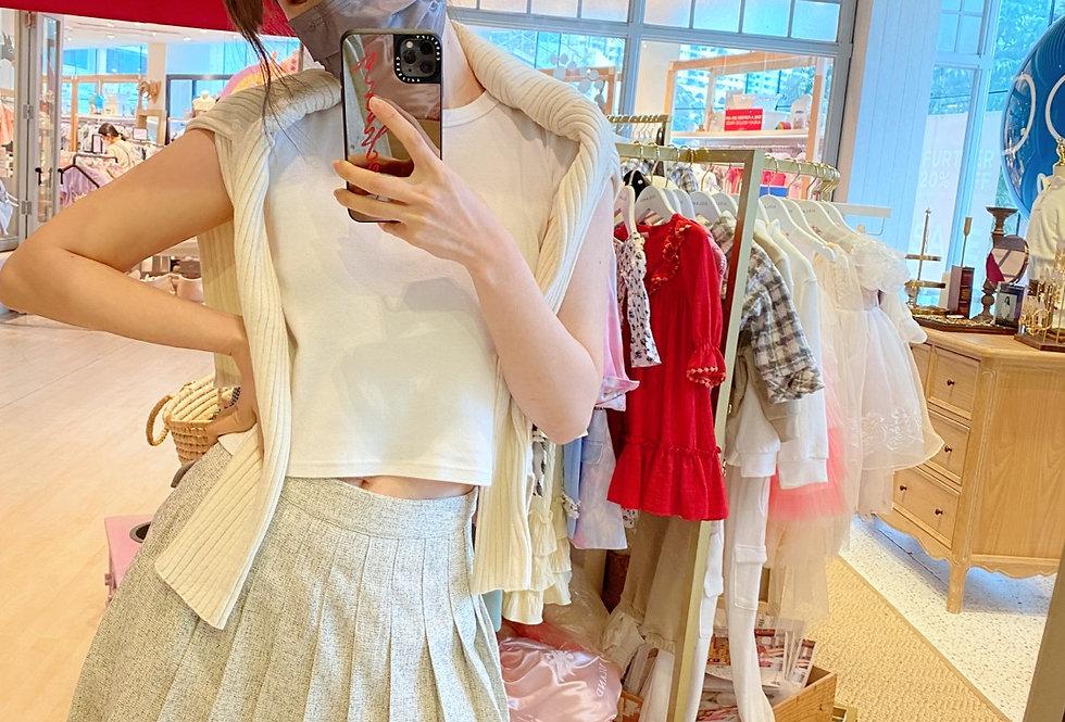 Ivory Tweed pleated skirt / Oat shoulderless top