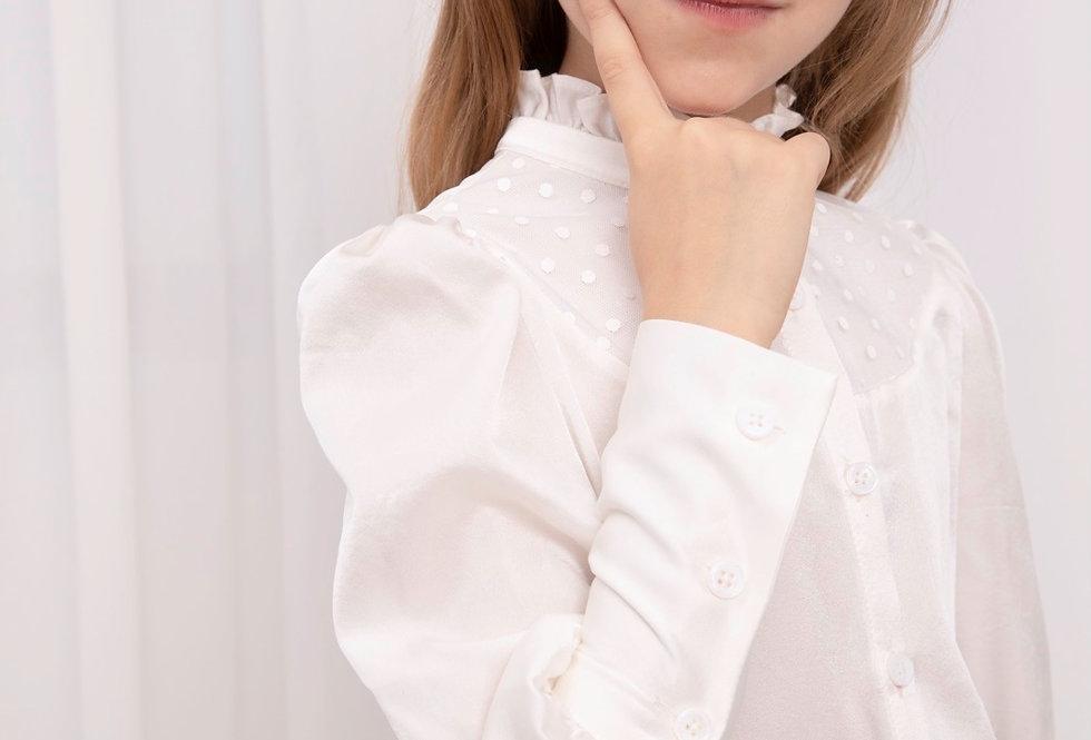 Lalumière系列- 立領真絲襯衫