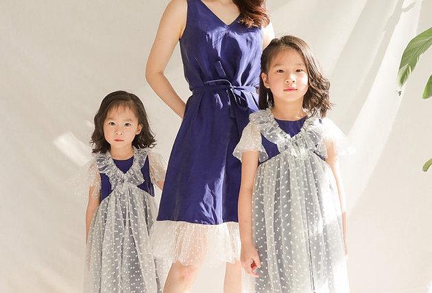 適合派對活動 White Dot Silky Blue Dress
