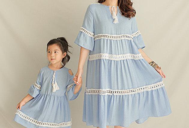 孕媽都能穿 鬆身款 Sky Blue Ethnic Dress