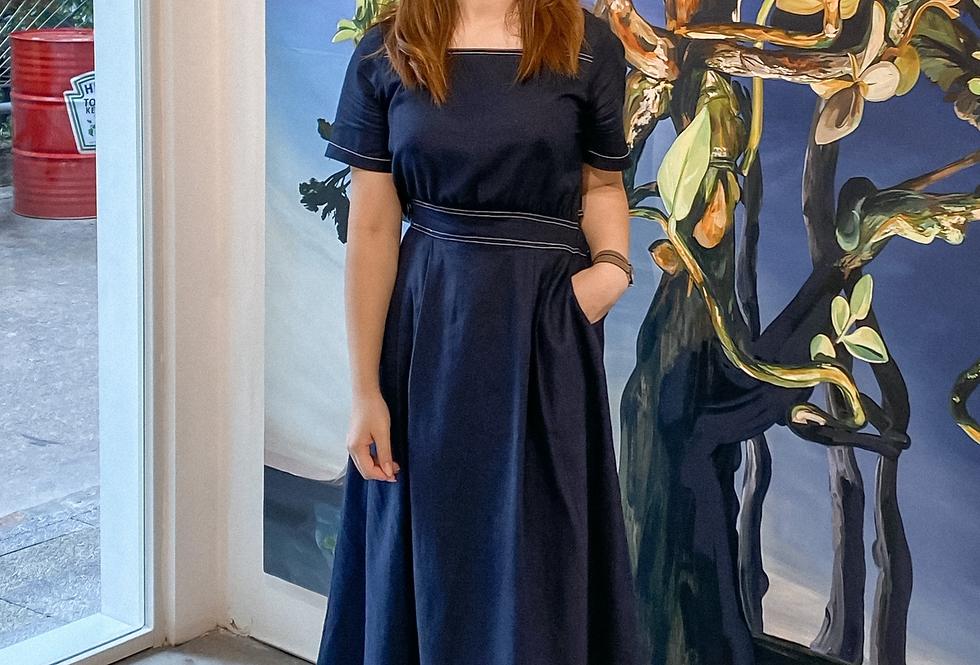 Navy Square-neck Dress